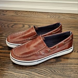 Nautical Brown Leather Loafers Size 3